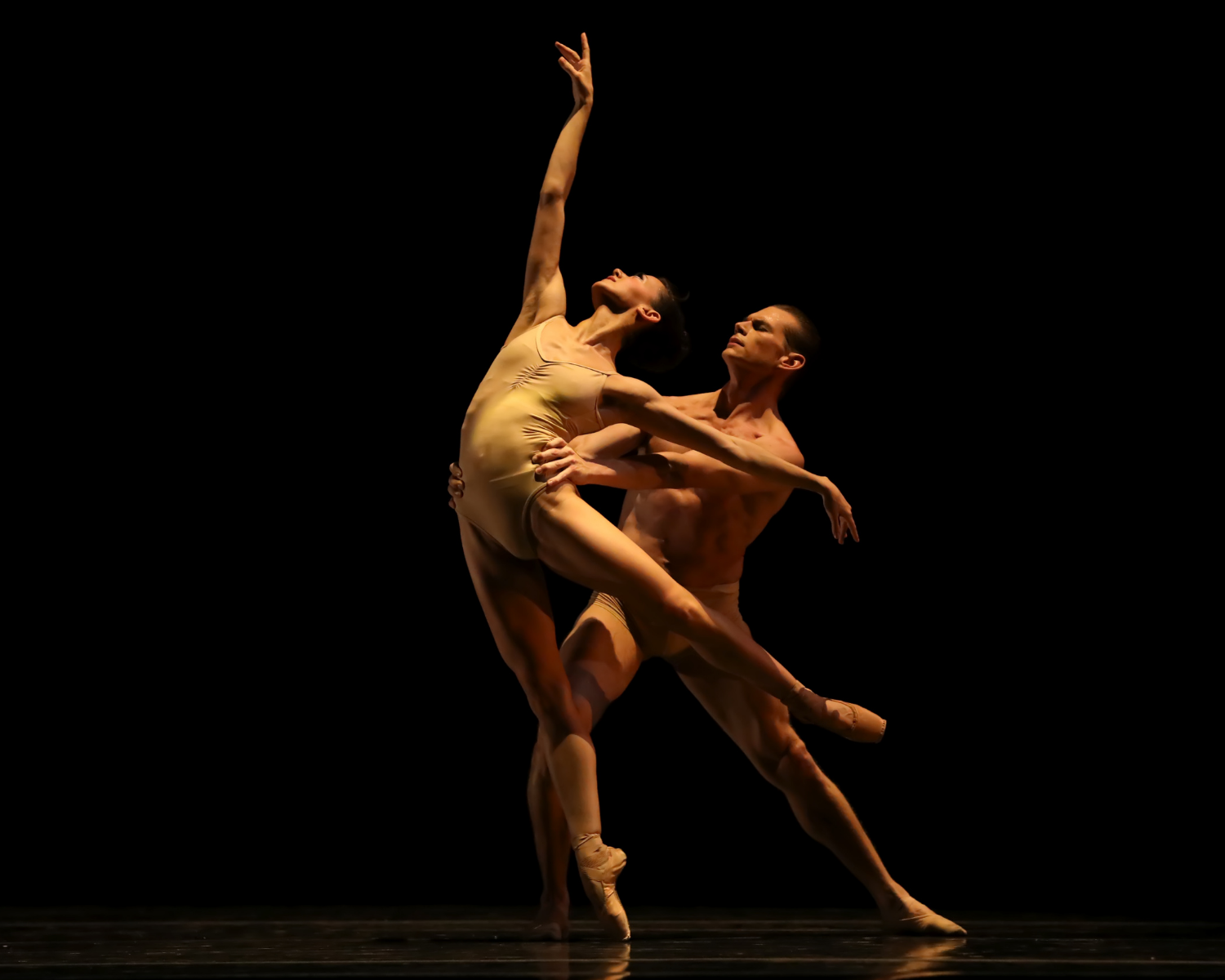 Male dancer in nude-colored shorts partnering with female dancer in nude-colored leotard, posed under a spotlight.