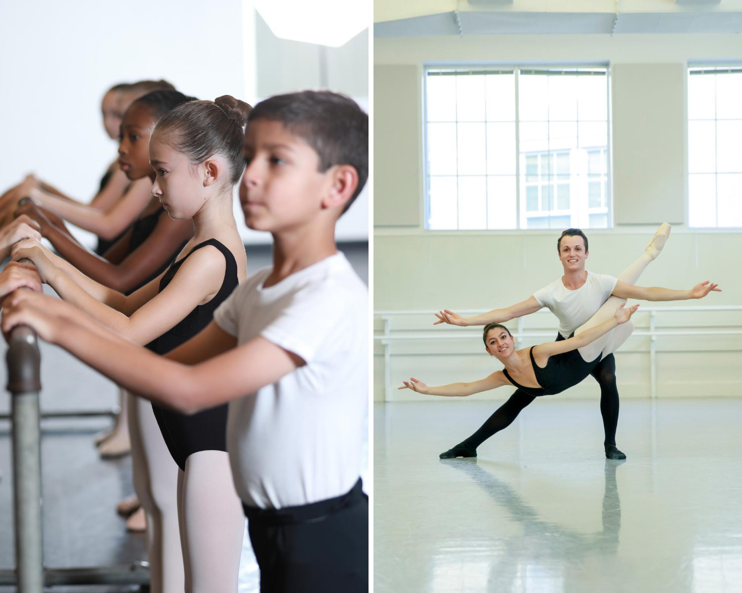 Collage of Texas Ballet Theater School students in class.