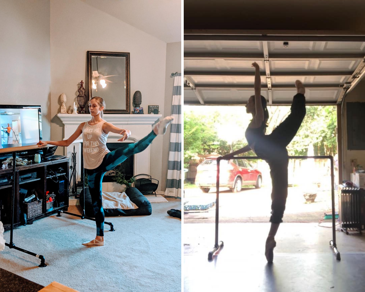 Collage of Texas Ballet Theater School students dancing at home.