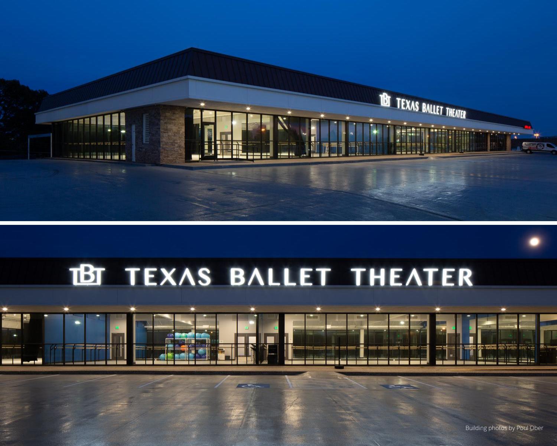 Exterior of Texas Ballet Theater School's Richardson studio.