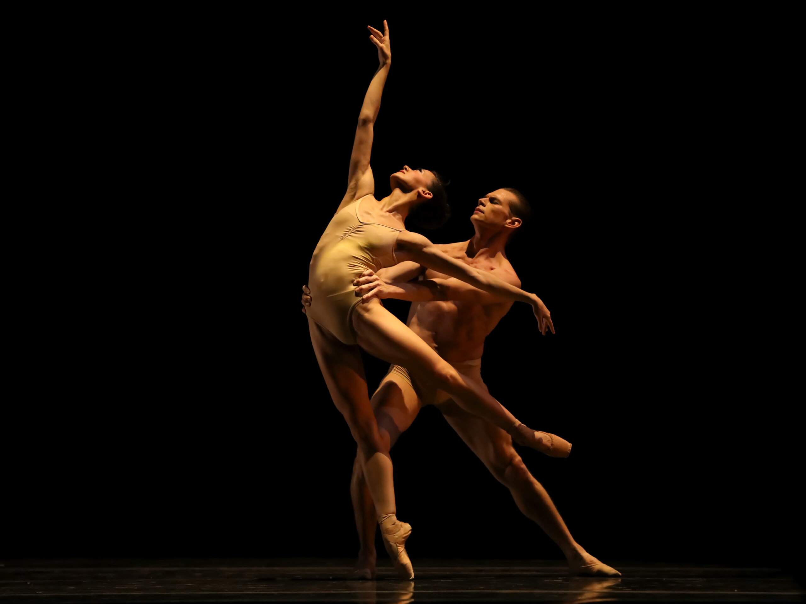 One male and one female dancer under a spotlight.