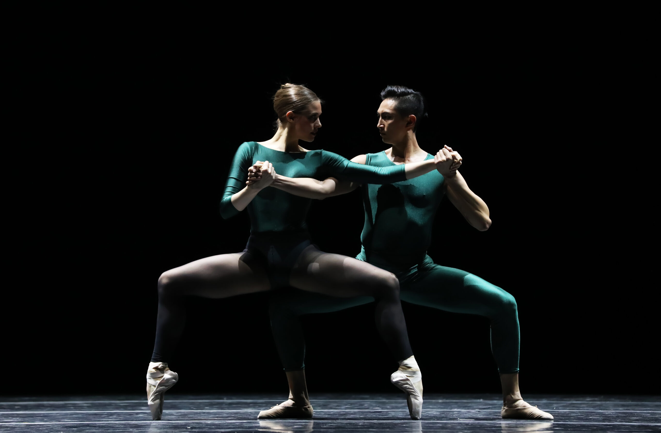 Male & Female pair in green leotards